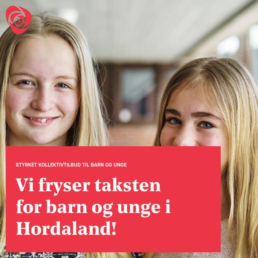 Fryser taksten for barn og unge i Hordaland