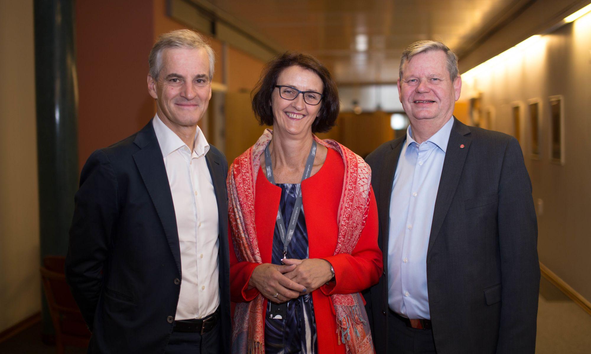 Jonas Gahr Støre, Kari Henriksen og Odd Omland mener Arbeid er det viktigste for Vest-Agder