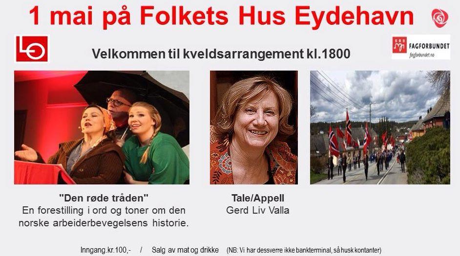 1. mai på Folkets hus Eydehavn kl. 18.00