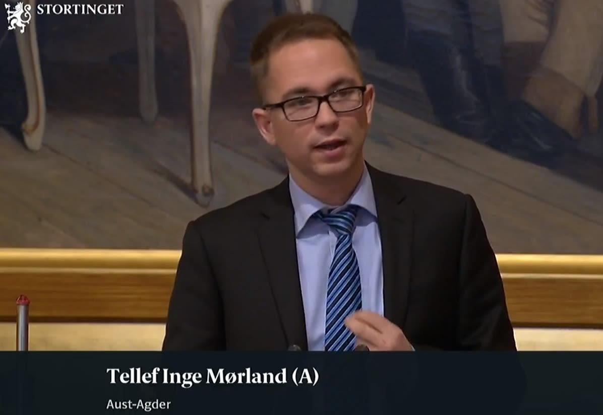 Tellef Inge Mørland på stortingets talerstol i trontaledebatten