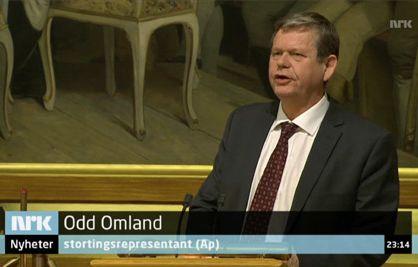 Odd Omland på stortingets talerstol