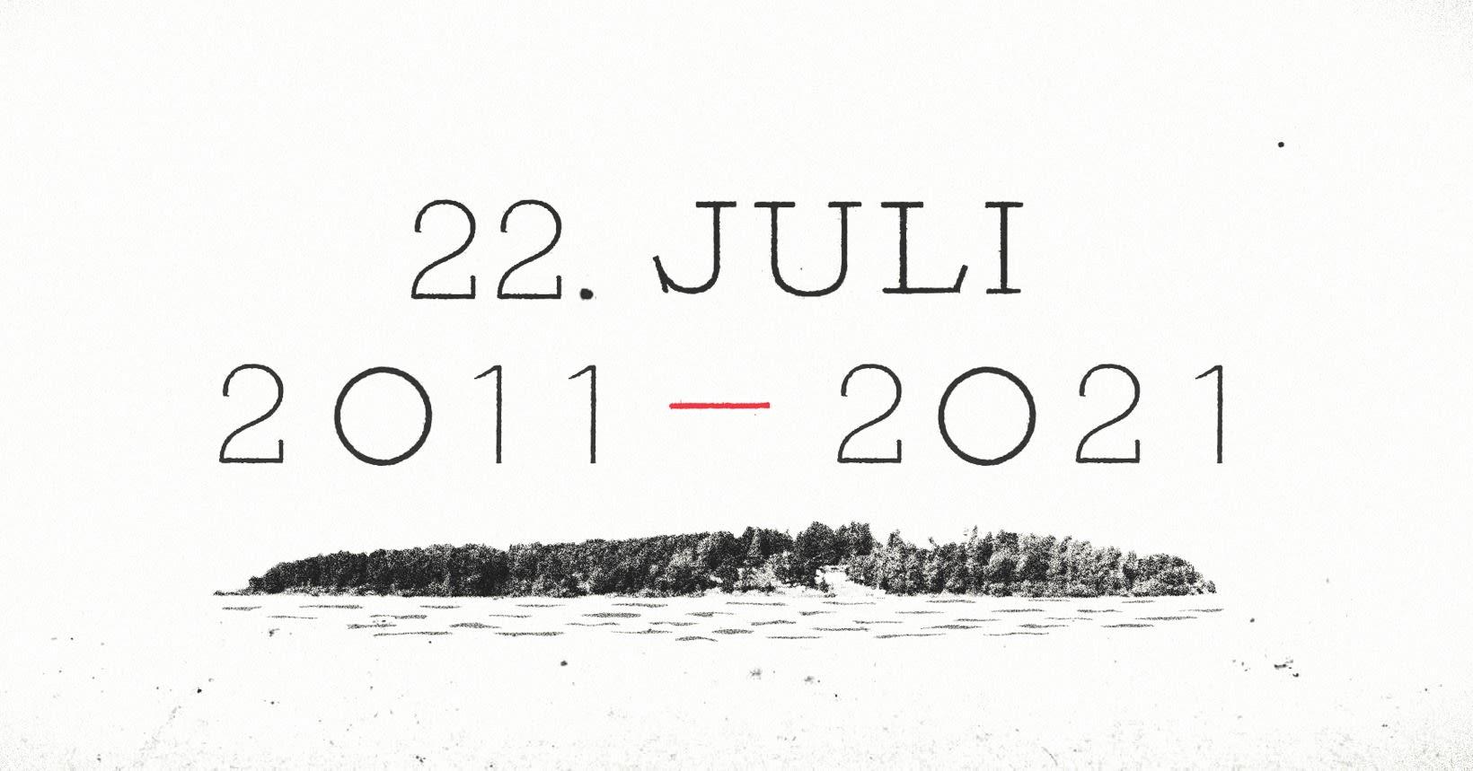 Tegnet bilde uten farger av Utøya med teksten 22. juli 2011-2021