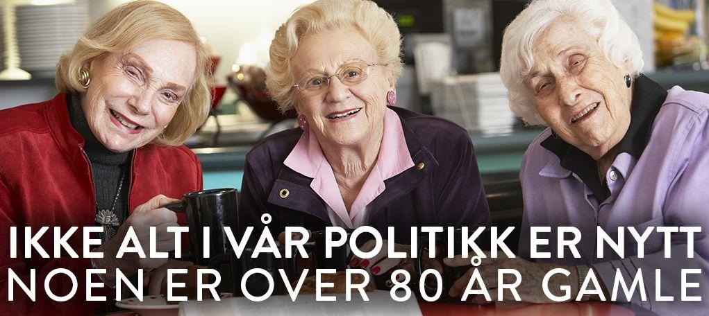 """""""Ikke alt i vår politikk er nytt, noen er over 80 år gamle"""". """" Tre eldre kvinner drikker kaffe i en kantine"""""""