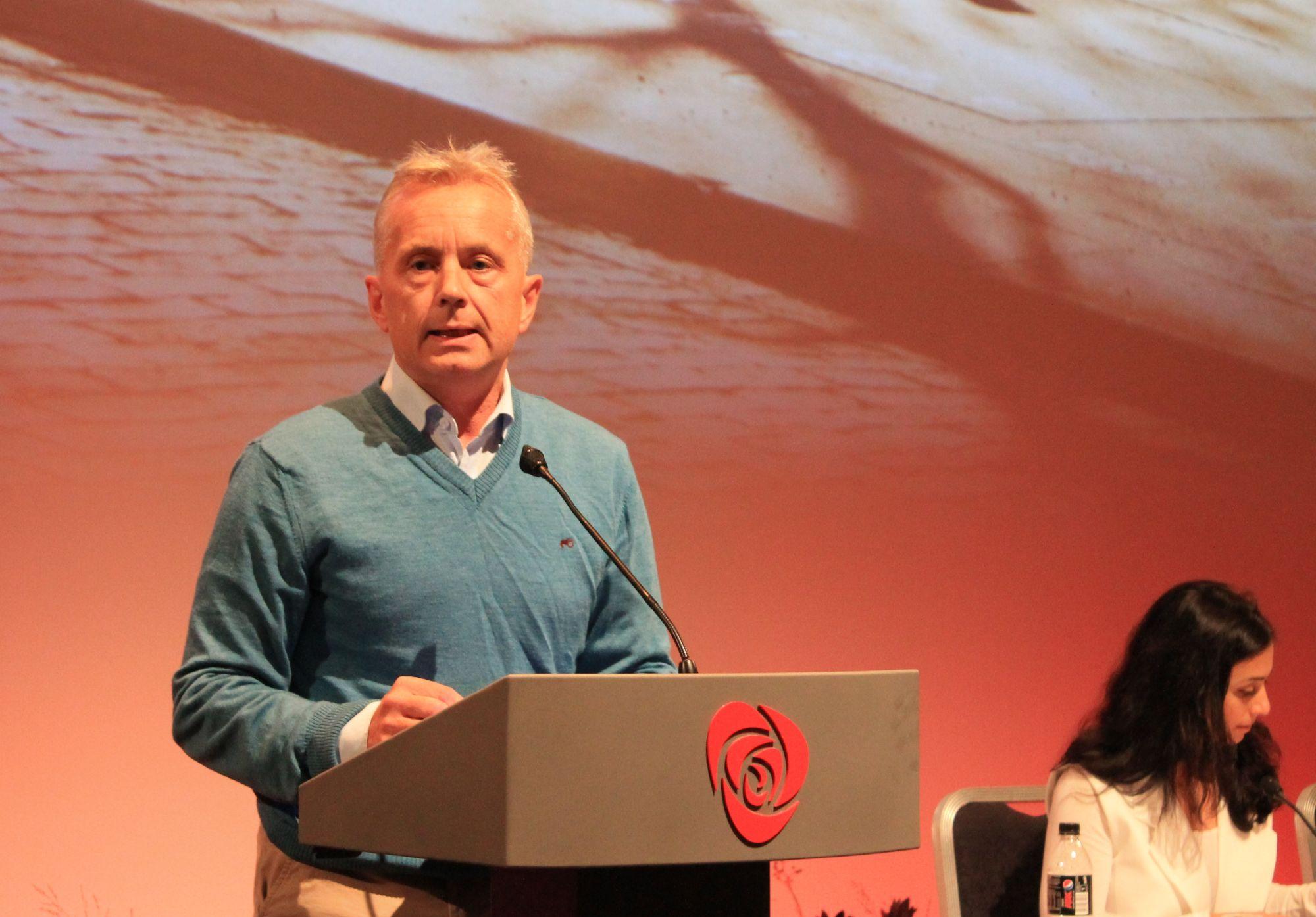 Knut Storberget på talerstolen under landsstyremøtet i Arbeiderpartiet. Foto: Bjørn Jarle Røberg-Larsen