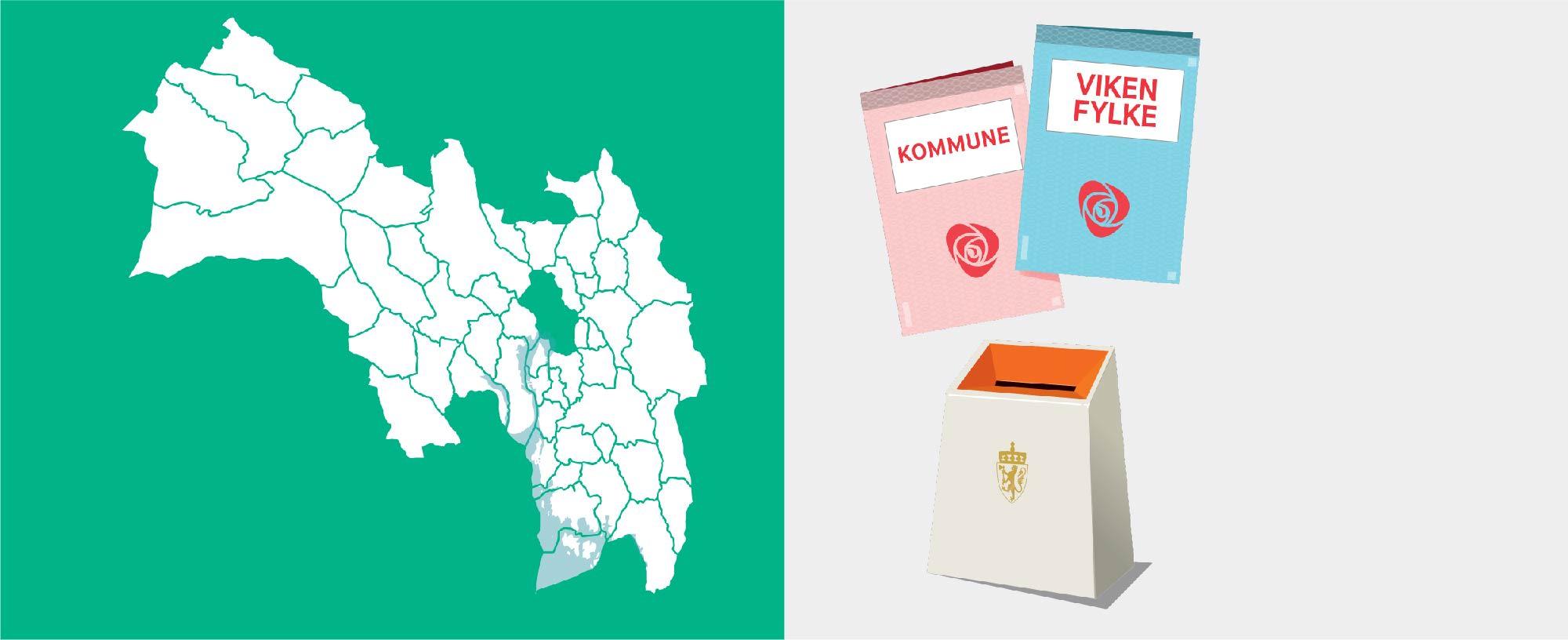 Todelt bilde, venstre side kart over Viken med kommunegrenser og høyre side illustrasjon av stemmesedler og urne.