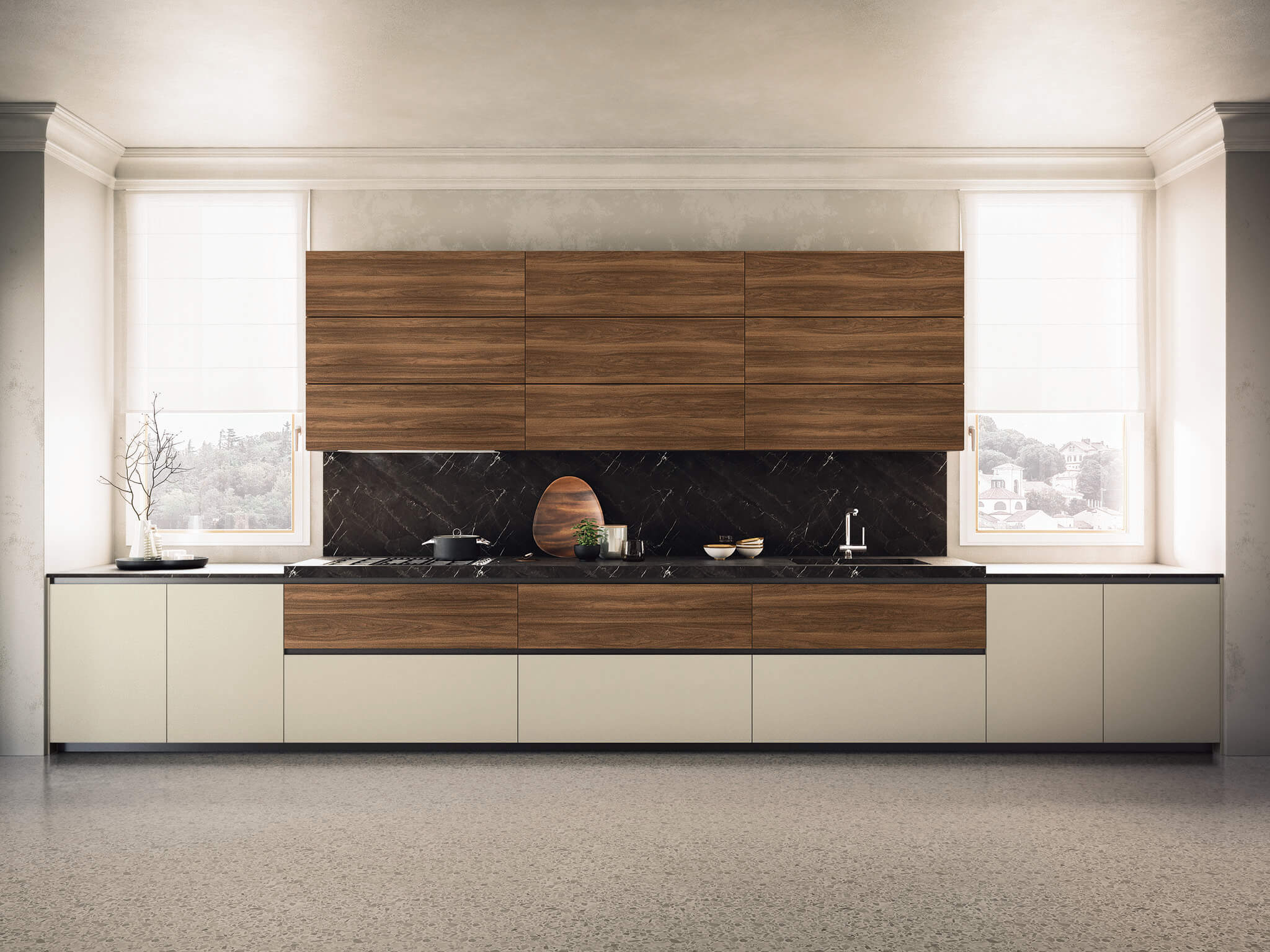 Kate contemporary kitchen cabinet walnut | Chicago