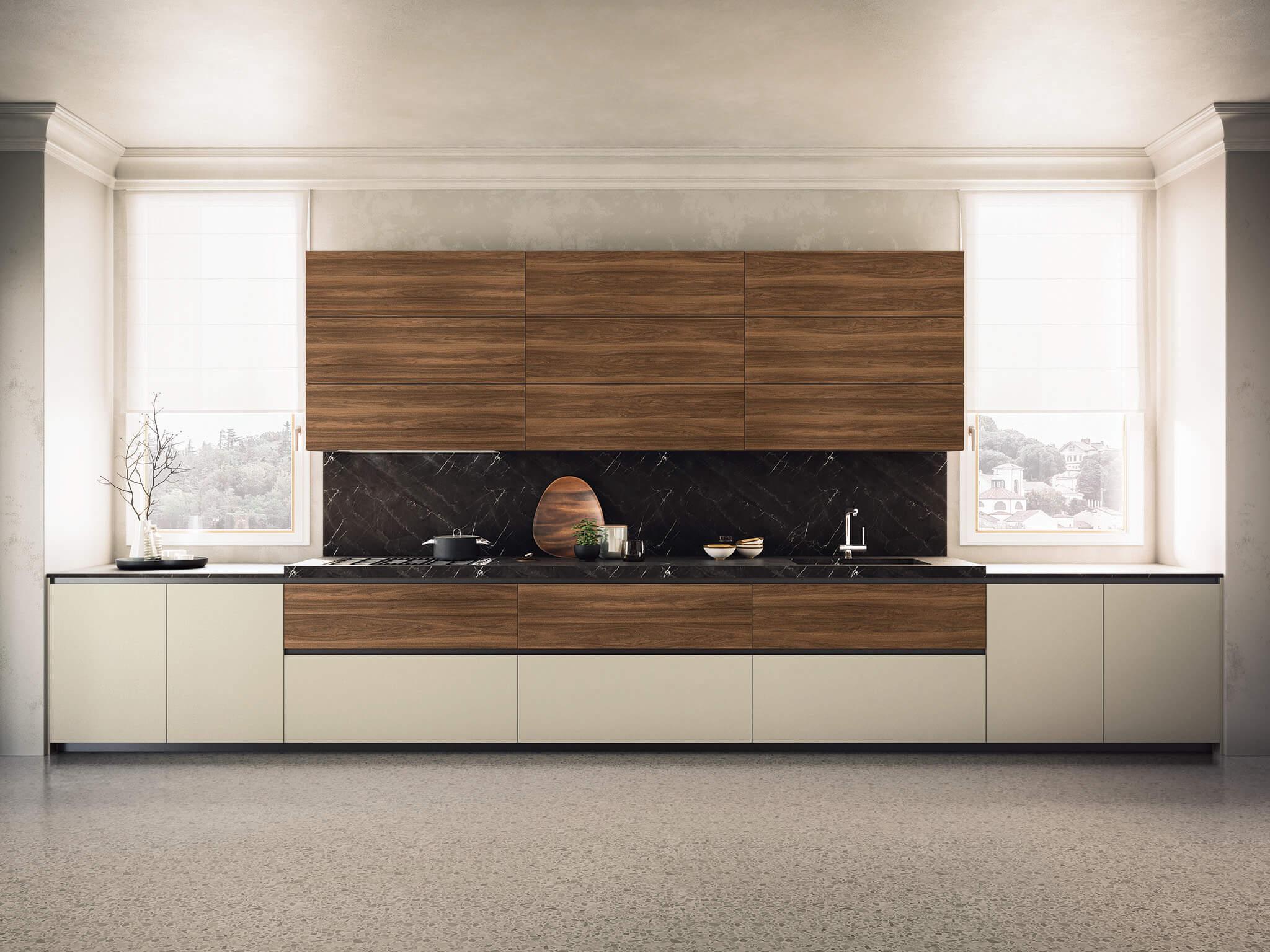 Kate contemporary kitchen cabinet walnut | Chicago
