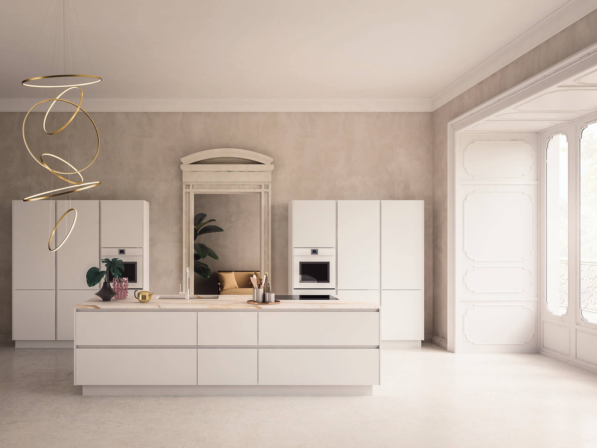 Kate contemporary kitchen cabinet white | Chicago