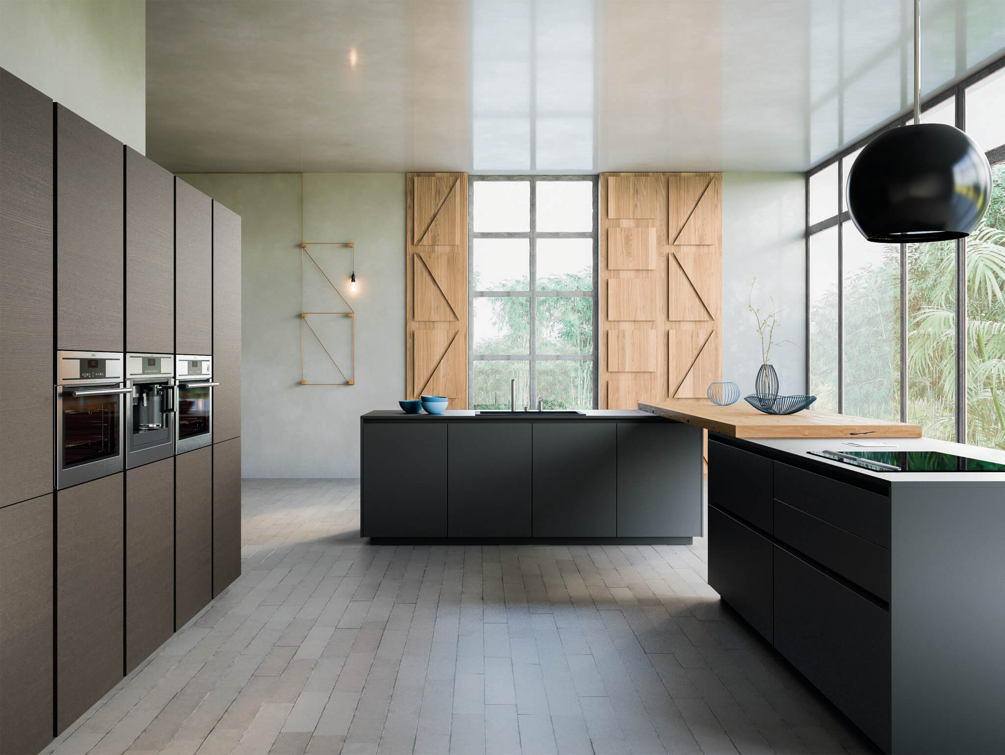 K105 contemporary kitchen cabinet black | Chicago