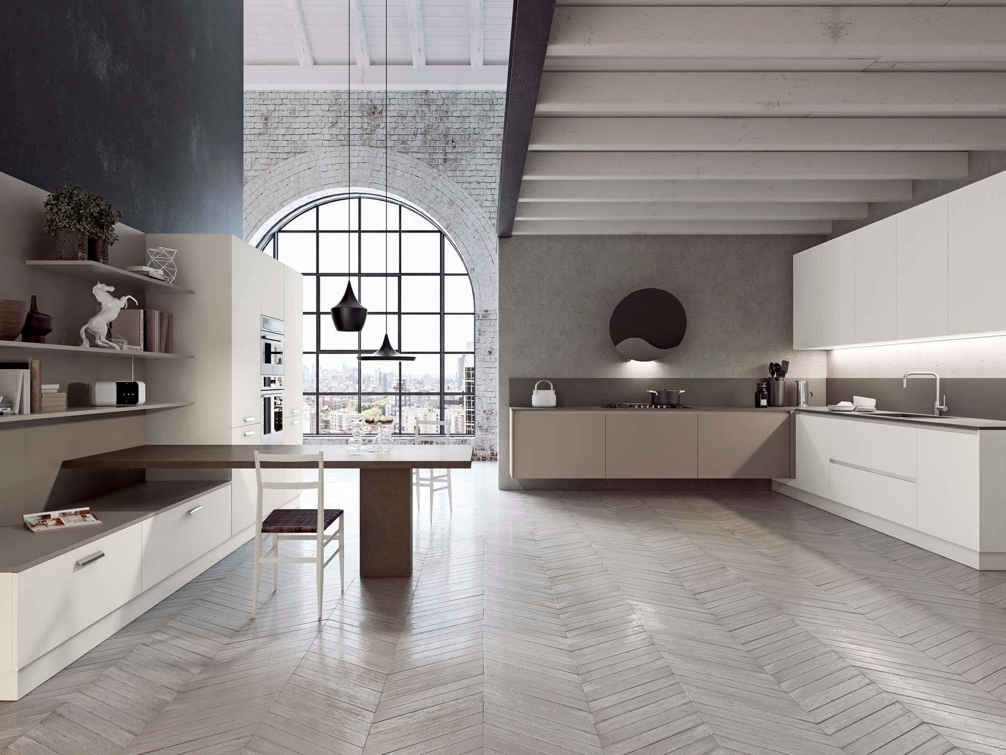 Kalea contemporary kitchen cabinet Matt lacquered