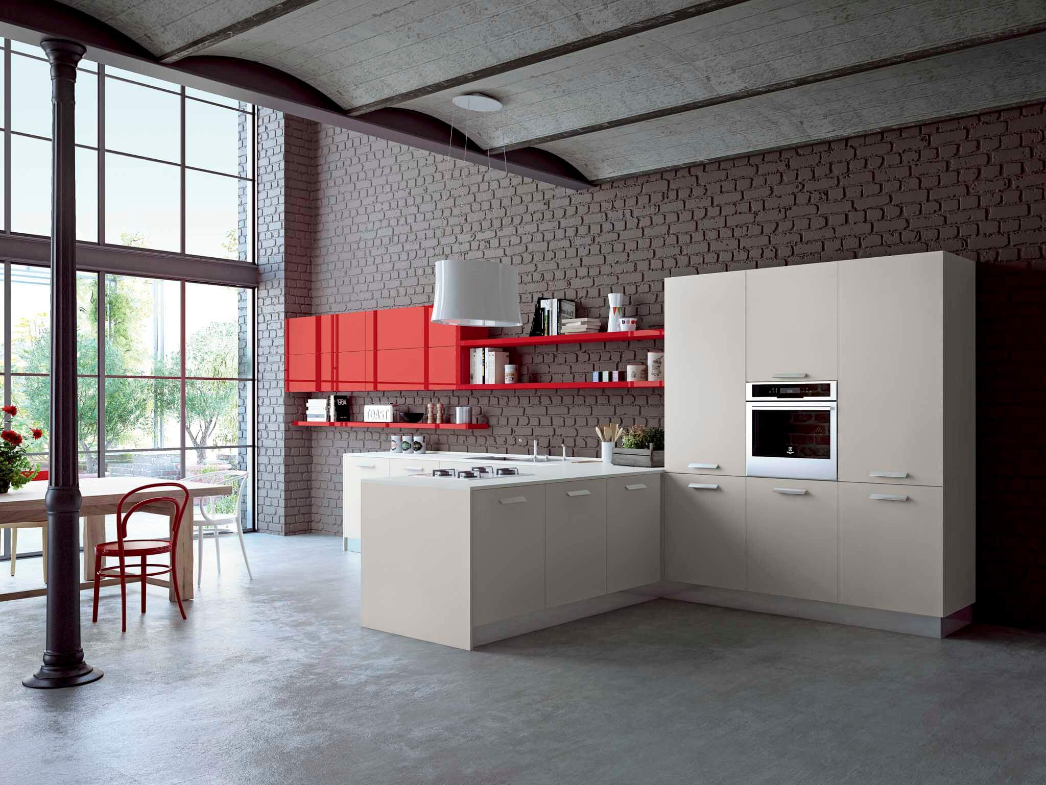 Kalea modern kitchen cabinet red wall unit