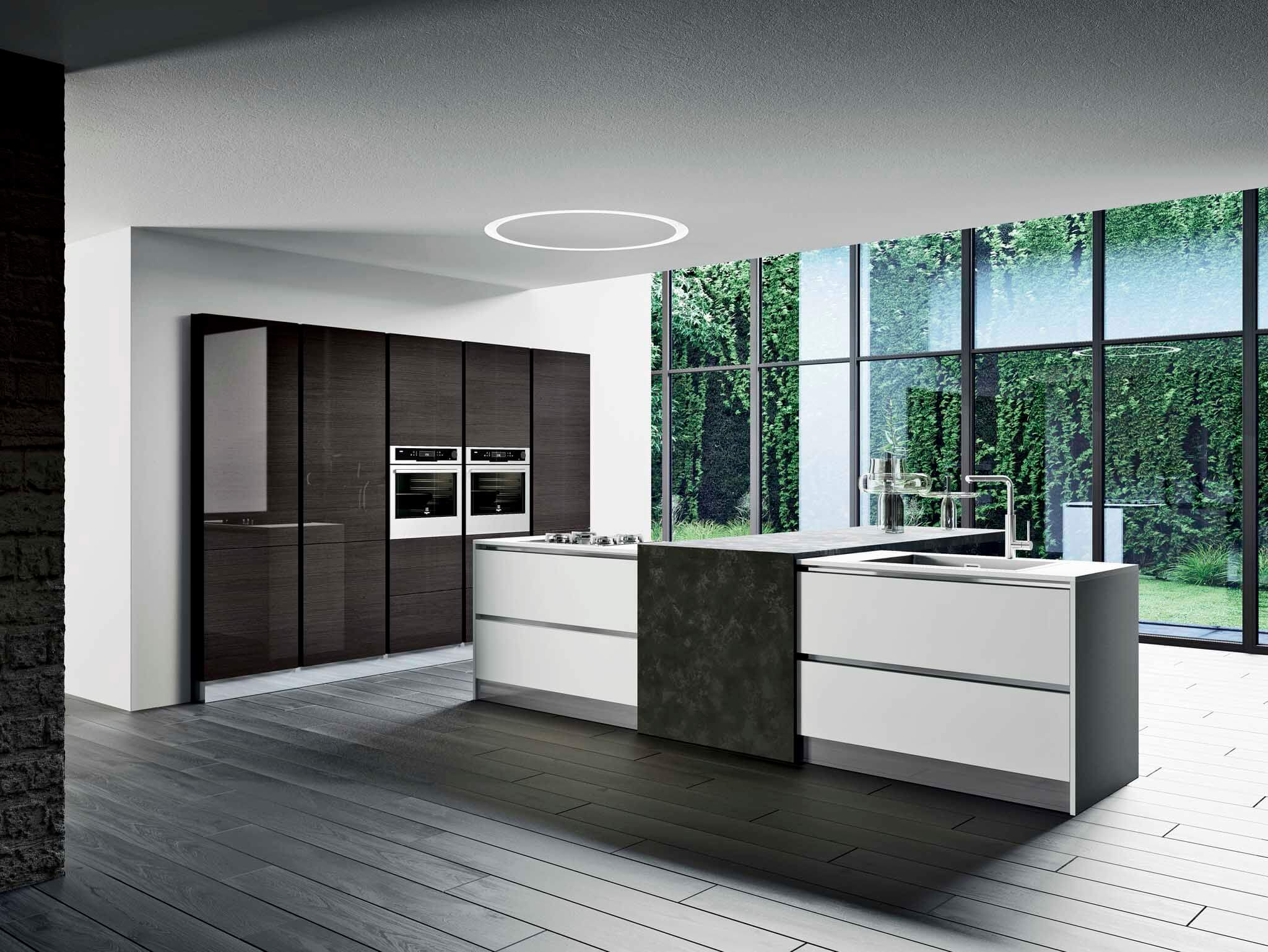 Kalea contemporary italian kitchen cabinet Base units for island: Wood Eucalipto