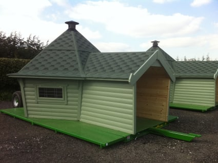 A Camping Cabin mounted atop a chassis to satisfy planning regulations.