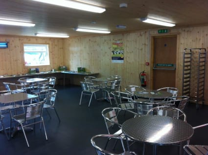 The interior of a campsite café.