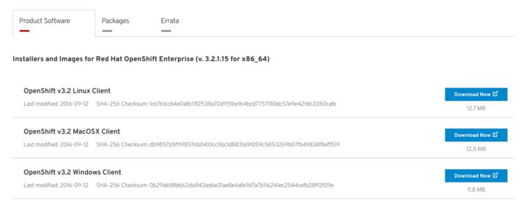 download rhel openshift client tools