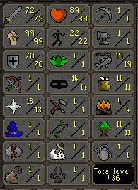 72 Attack, 99 Strength, 70 Defence  - $119.99
