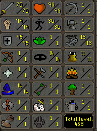 70 Attack, 99 Strength, 95 Defence  - $159.99