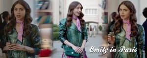 Emily In Paris Lily Collins Metallic Green Motorbike Leather Jackets areena design (2
