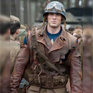 Captain America First avengers 2011 Steve Rogers Brown Leather Jacket areena design
