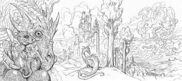 First three panels of John Howe's Draconis
