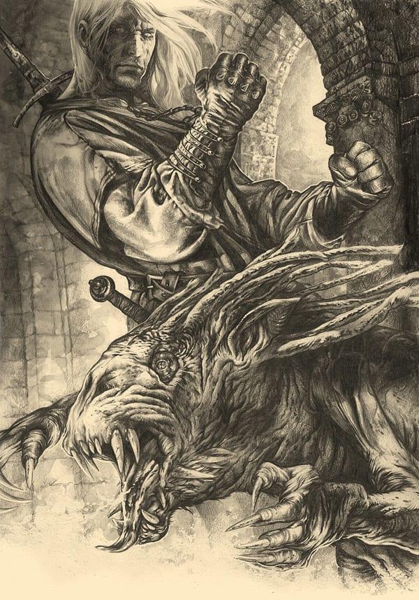 Geralt of Rivia Fights the Striga (Andrzej Sapowksi)