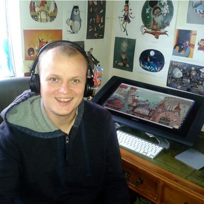 Illustrator Aleksei Bitskoff in his studio
