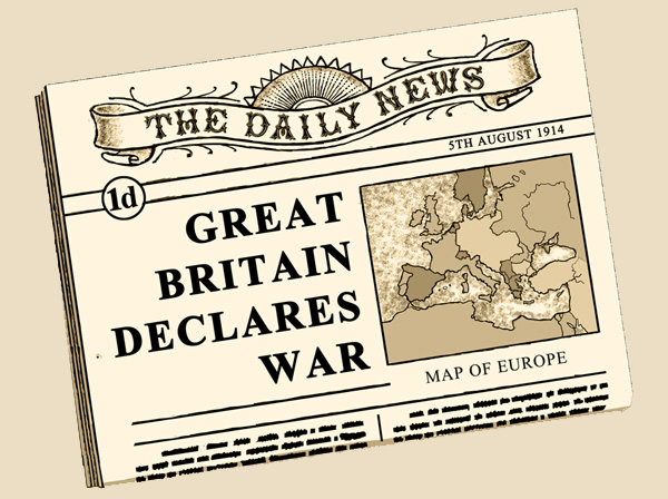 On 4th August Great Britain declare war on Germany