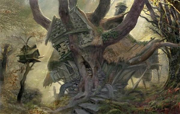 John Howe Radaghast's House concept art for The Hobbit Trilogy