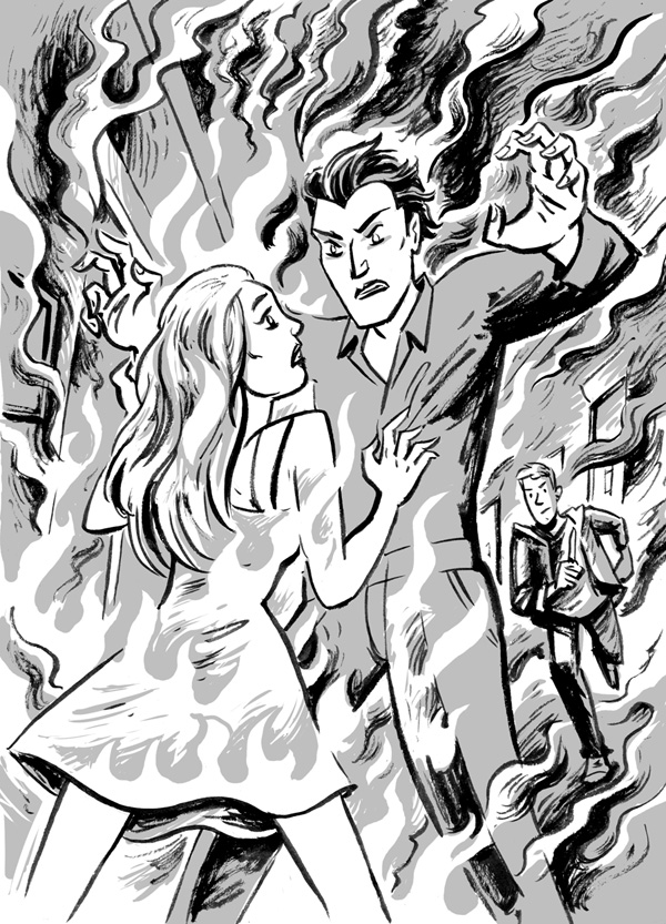 She took hold of Vlad and screamed for help. His clothes caught fire and he pushed her away