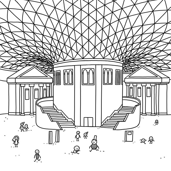 The Great Court of the British Museum, illustration by Thomas Flintham