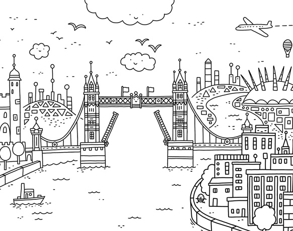 Tower Bridge, illustration by Thomas Flintham