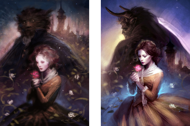 Melanie Delon initial rough digital sketches for Beauty and the Beast