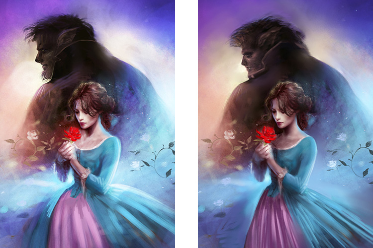 Melanie Delon second stage rough digital sketches for Beauty and the Beast