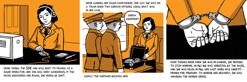 Noor Inayat Khan IWM comic strip illustrations by Frances Castle