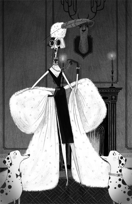 Cruella de Vil illustration by Alex T Smith