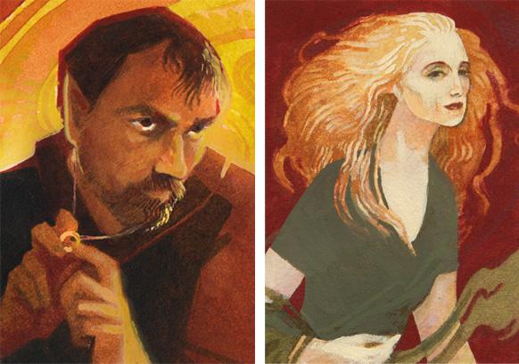 Donato Giancola and Rebecca Guay portraits by Serena Malyon