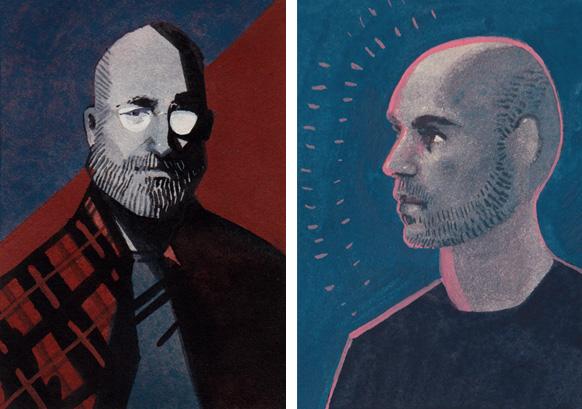 Mike Mignola and Dan Dos Santos portraits by Serena Malyon