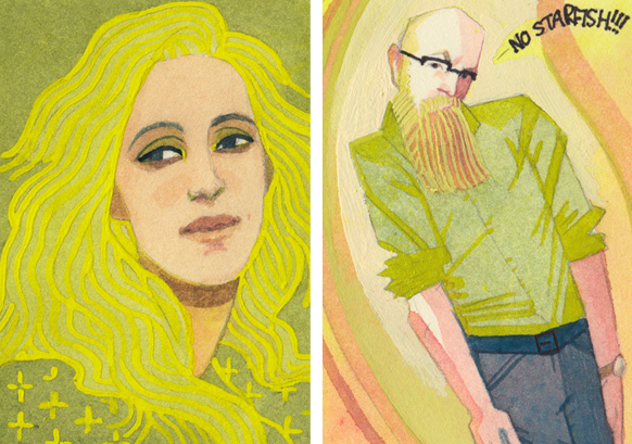 Lauren Panepinto and Scott Fischer portraits by Serena Malyon
