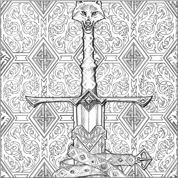 Longclaw, illustration by John Howe for A Game of Thrones Colouring Book