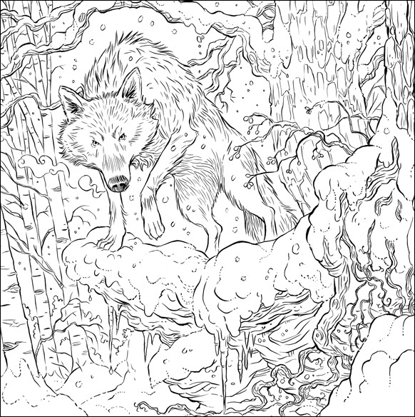 Direwolf illustration by Adam Stower for A Game of Thrones Colouring Book