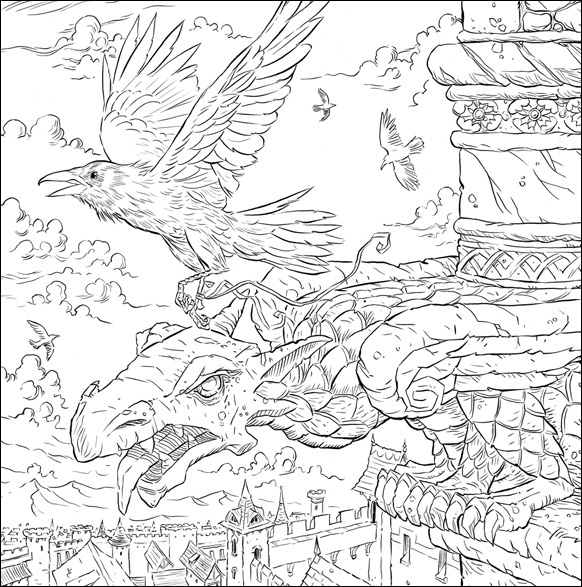 Messenger Ravens, illustration by Adam Stower for A Game of Thrones Colouring Book