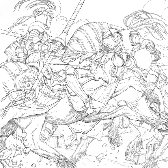 Jousting, illustration by Levi Pinfold for A Game  of Thrones Colouring Book