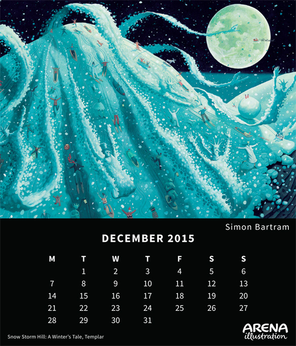 Arena Calendar December 2015, Snow Storm Hill by Simon Bartram