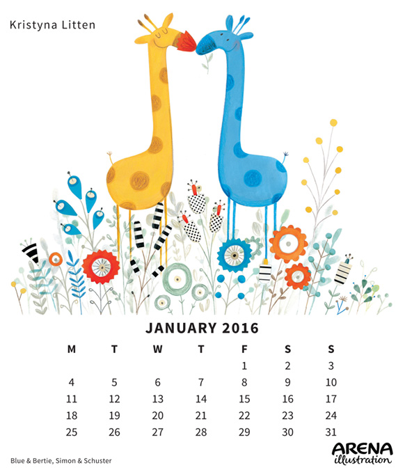 Kristyna Litten's Blue and Bertie, January 2016 Calendar
