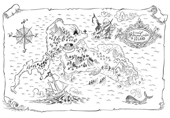 Adam Stower Robinson Crusoe Map