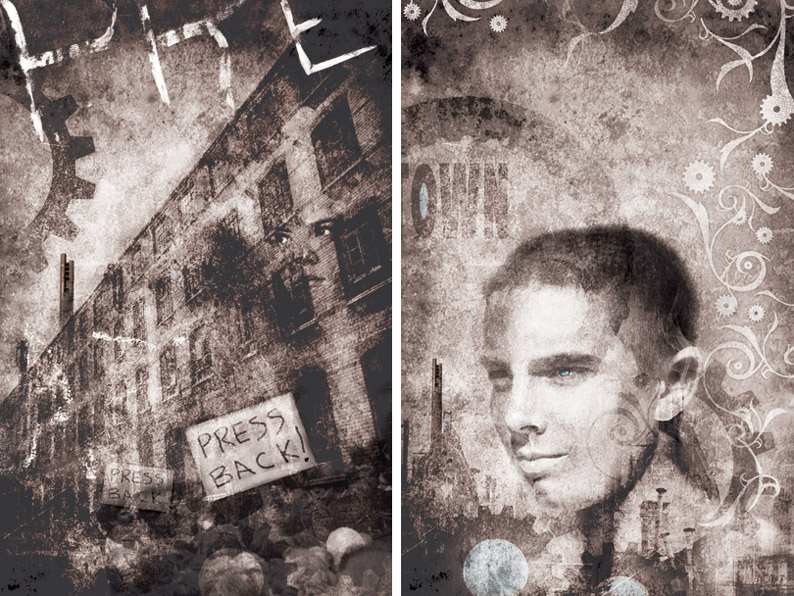 Promotional Illustrations by Christopher Gibbs for Metaltown, written by Kirsten Simmons