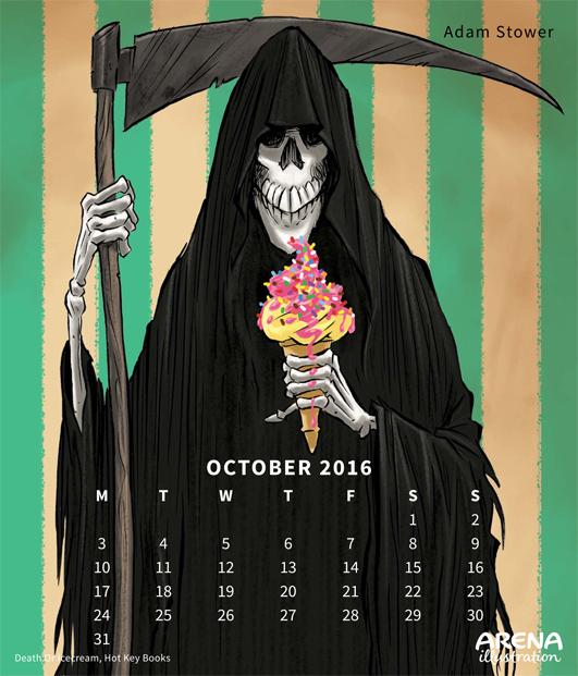 Arena Calendar October - Death or Ice Cream by Adam Stower