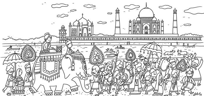 Thomas Flintham Around The World Colouring Book, India