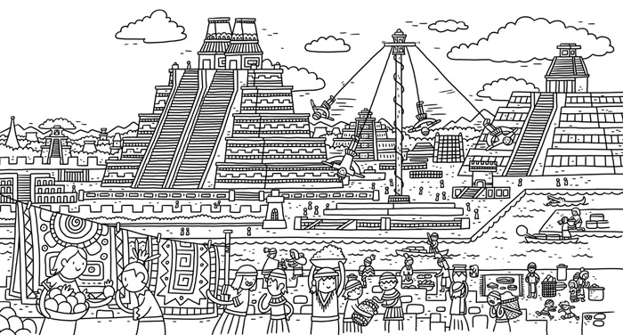 Thomas Flintham Around The World Colouring Book, Aztecs