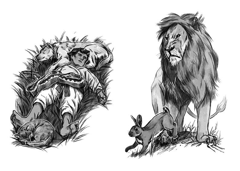 'The Charmed Ring' and 'The Rabbit and The Lion' illustrations by Joe Lillington